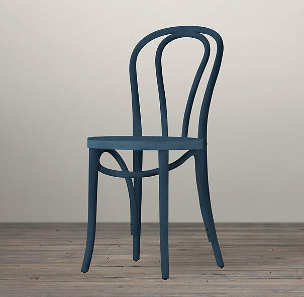 Blue Stained French Cafe Wood Chair