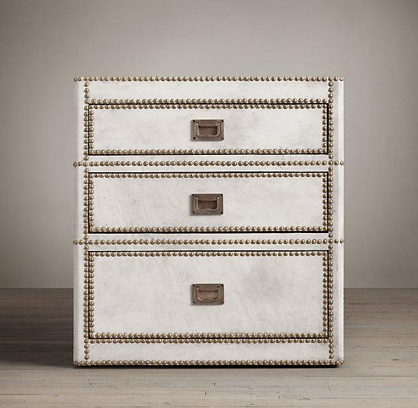 Marseilles 3 Drawer White Leather Nailhead Trim Nightstand