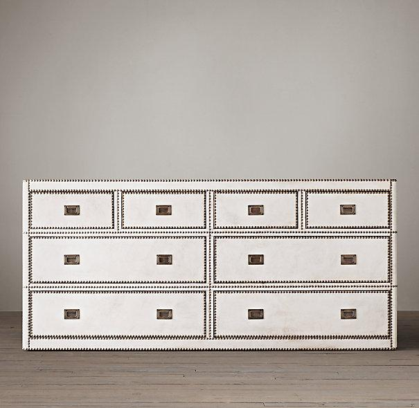 Marseilles 8 Drawer White Leather Nailhead Trim Dresser