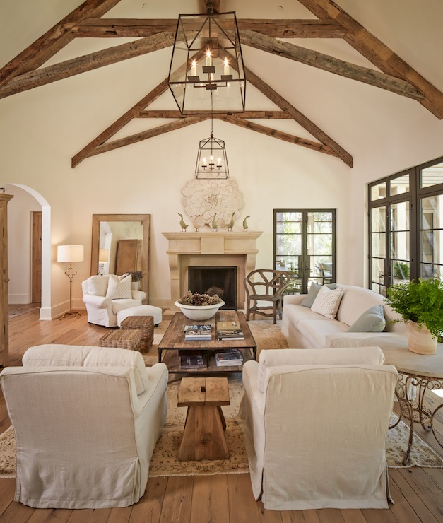 Vaulted Ceiling With Exposed Wood Beams Cottage Living Room - Vaulted ceiling living room