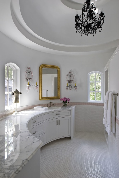 White Gray Marble Bathroom Tile