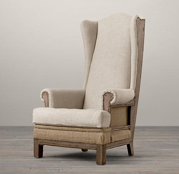 Deconstructed Ivory Burlap Highback Wing Chair