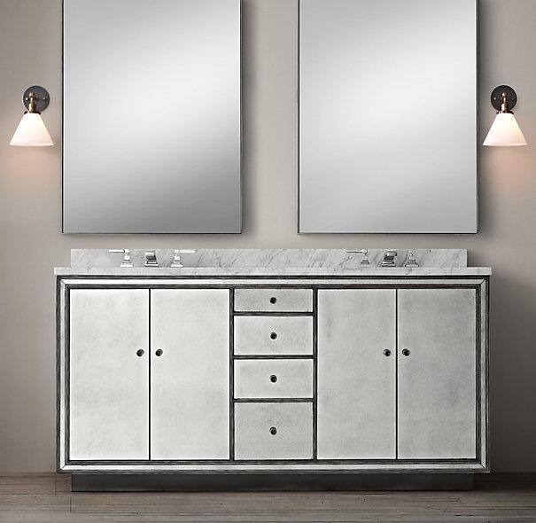Double Sink Mirrored Bathroom Vanity: Black Border Strand Mirrored Double Vanity Sink