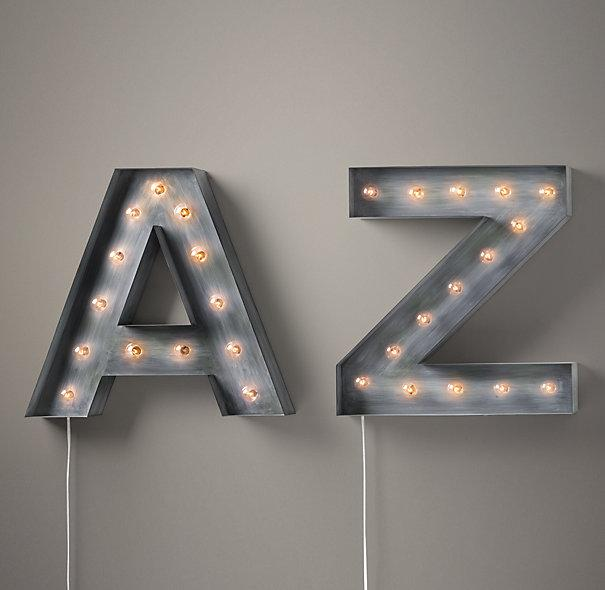 Metal Letters For Wall Decor Entrancing Illuminated Gray Marquee Letters Design Ideas