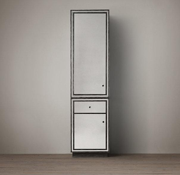 Black Border Strand Mirrored Tall Cabinet
