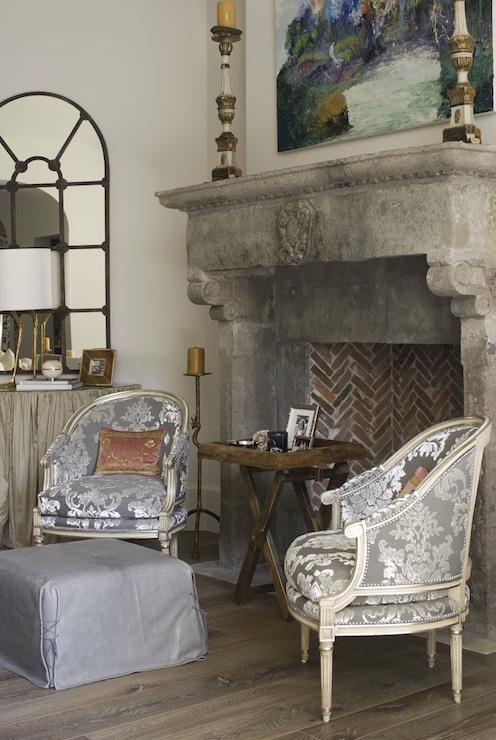Damask Living Room Decor: Thompson Custom Homes