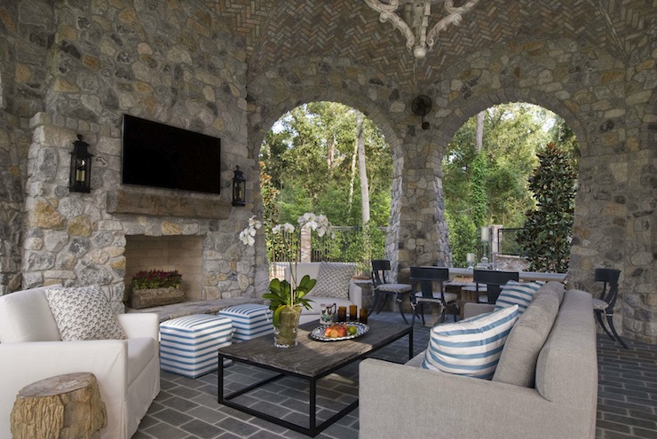 Lovely Covered Patio With Fireplace