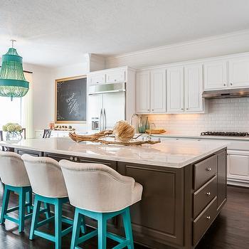 Brown KItchen Island, Contemporary, kitchen, Laura U Interior Design