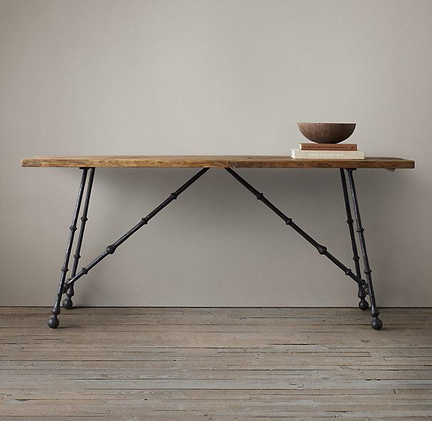 Oak and Iron Craftsman Console Table