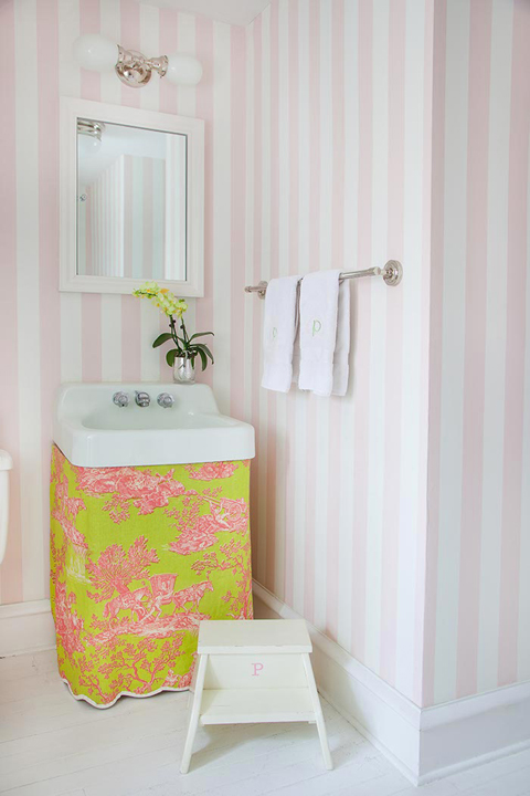 Amazing Girlu0027s Bathroom Features White Framed Medicine Cabinet On White And  Pink Vertical Striped Wallpaper As Well As Chartreuse Green And Pink Toile  Sink ...