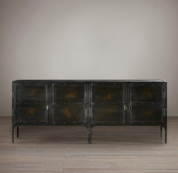 Industrial Metal Black Tool Chest Console