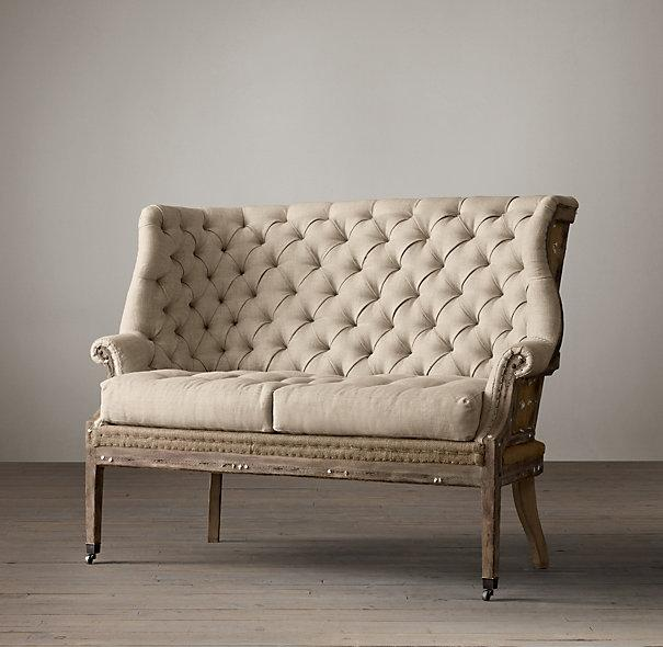 Deconstructed 19th Century English Wing Tufted Ivory Settee Upholstered