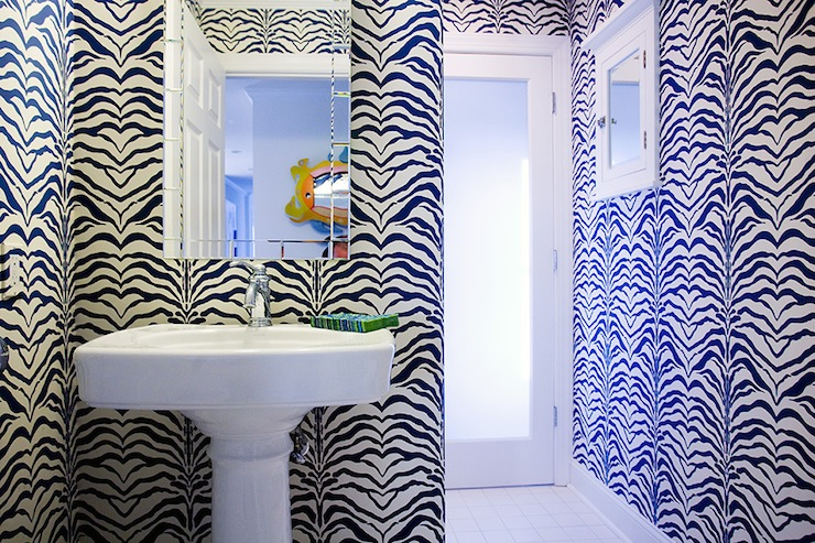 Zebra wallpaper contemporary bathroom mona ross for Zebra print and red bathroom ideas