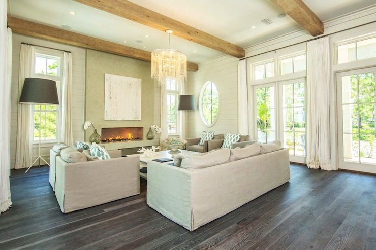 Gray wood floors cottage living room pizitz home and for Gray and wood living room