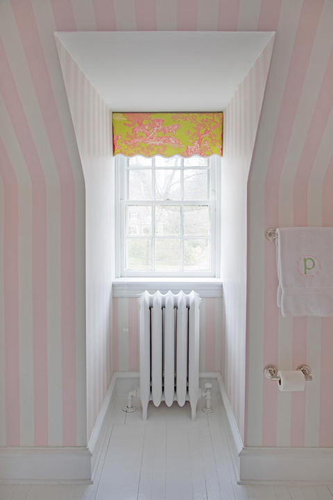 White And Pink Striped Wallpaper