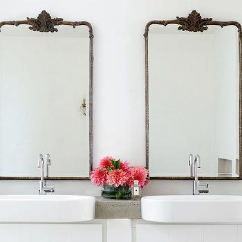 His and Her Sinks. Metal Framed Mirrors Design Ideas