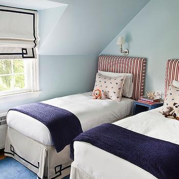 Greek Key Bedskirt, Transitional, boy's room, Mona Ross Berman Interiors