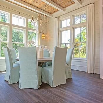 rustic wood beams cottage dining room tracery interiors