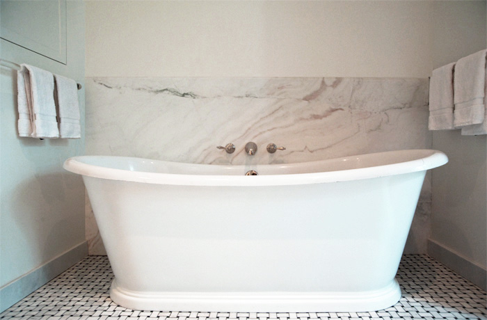 freestanding tub with faucet deck. Wall Mounted Tub Filler  Transitional bathroom Elizabeth
