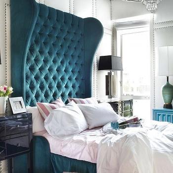 Peacock Blue Headboard, Eclectic, bedroom, Decor Demon