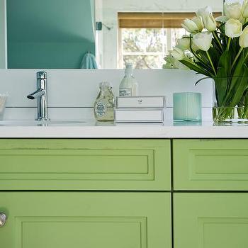 Green Washstand, Cottage, bathroom, HGTV