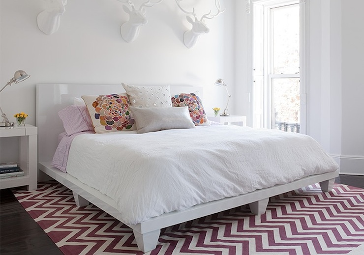 purple chevron rug contemporary bedroom the brooklyn home