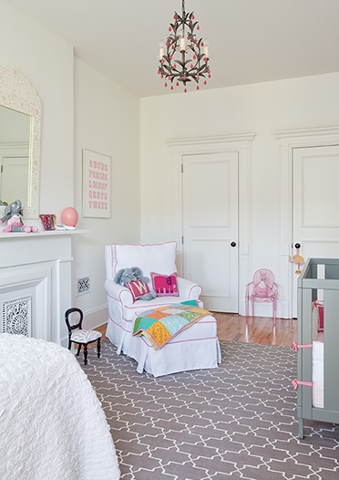 Pink And Gray Nursery Transitional Nursery The