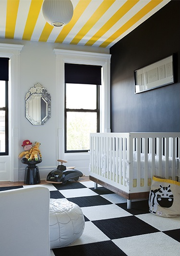 Yellow And Black Nursery Contemporary Nursery The