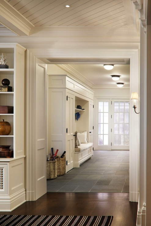 Foyer Built In Cabinets : Wood herringbone floors contemporary entrance foyer