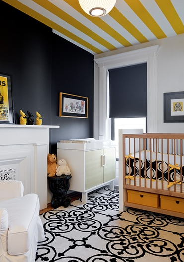 Striped Ceiling Contemporary Nursery The Brooklyn