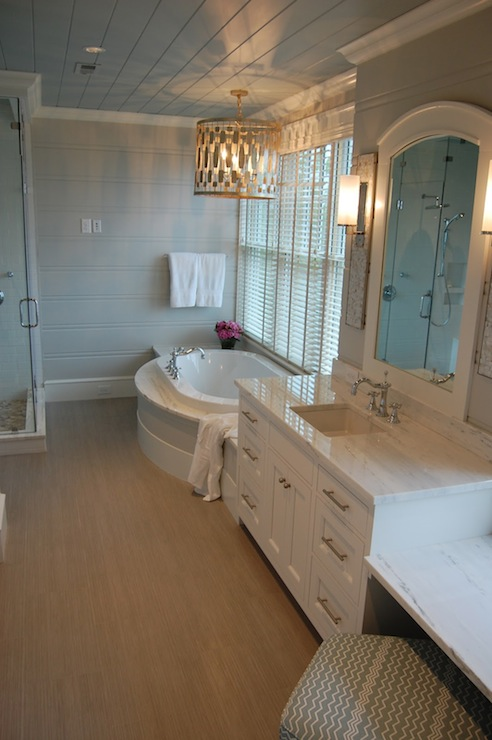 Built In Make Up Vanity Transitional Bathroom Markay