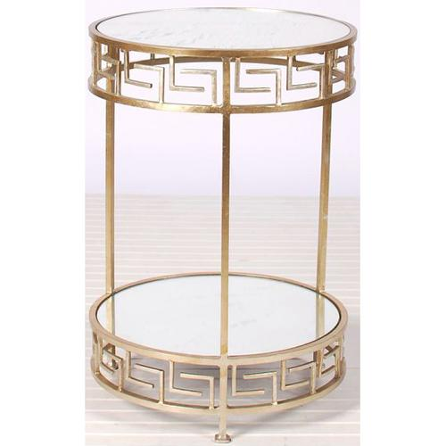 Raphael gold greek key round side table for Round gold side table
