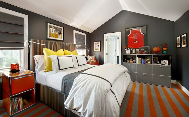 Gray And Orange Boy 39 S Room Contemporary Boy 39 S Room