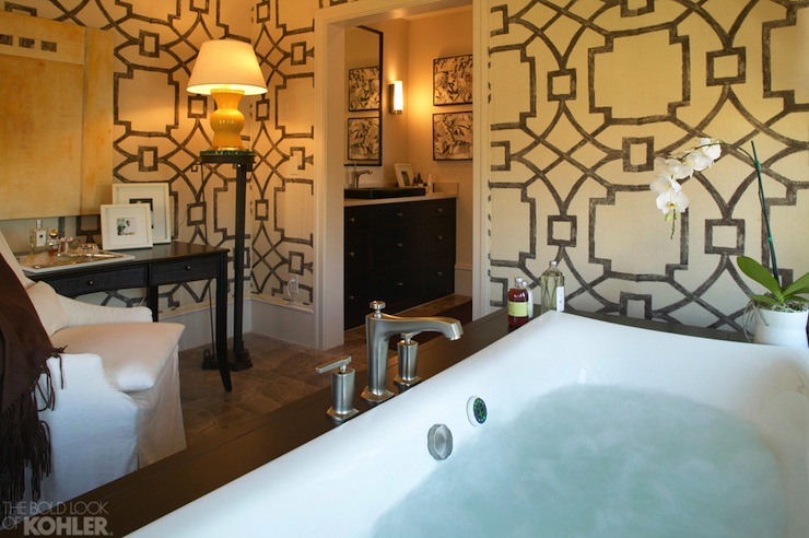 Fretwork Wallpaper - Contemporary - bathroom - Kohler
