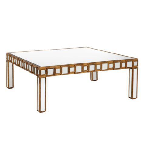 Tables And Such Treillage Round Gold Leaf Mirrored