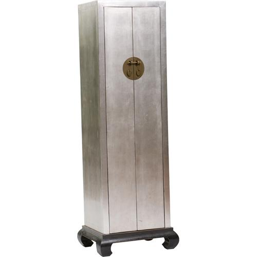 Fabulous Narrow Silver Two Doors Asian Inspired Cabinet LX19