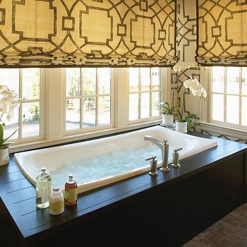 Fretwork Window Treatments, Contemporary, bathroom, Kohler