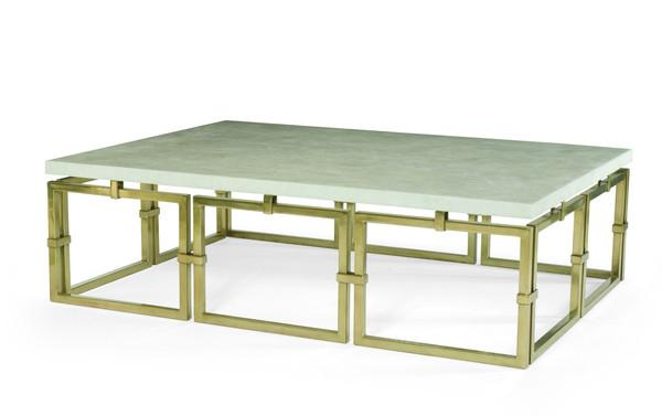 Brass Link Base Stone Top Cocktail Table