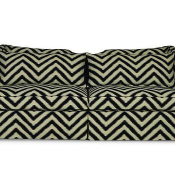 Yarn Dyed Fan Pleat Black And White Sofa