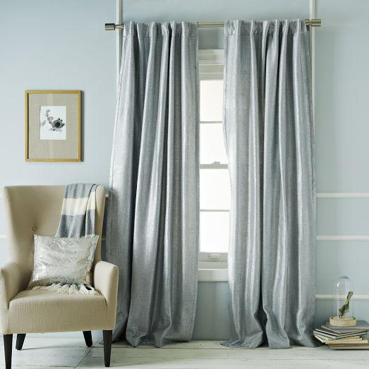 Relatively Silver Blue Metallic Basketweave Curtain TY37