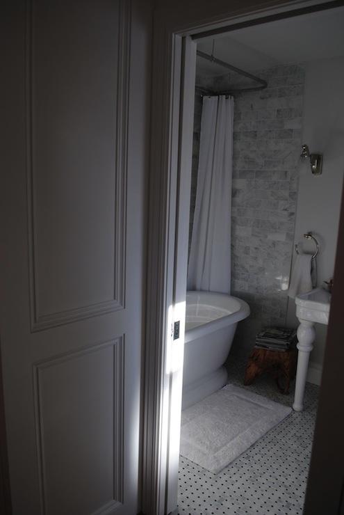 Bathroom Tiles Height ceiling height backsplash - transitional - bathroom - razamataz