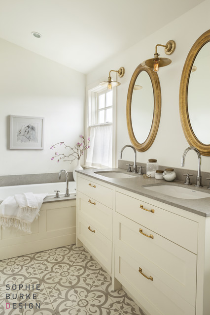 White vanity with brass pulls transitional bathroom for Bathroom finishes trends