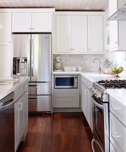 White upper cabinets gray lower cabinets transitional for Upper kitchen cabinets
