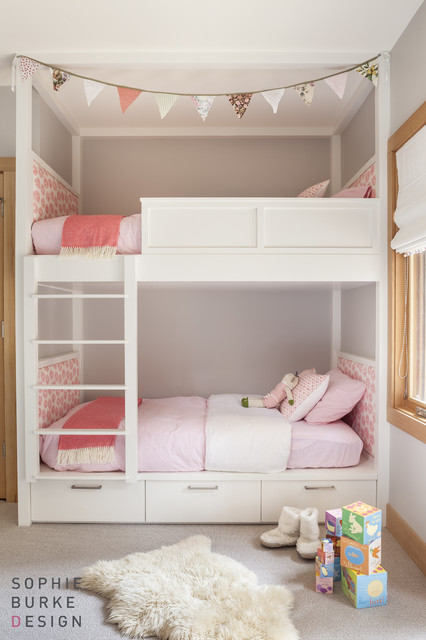 Pink and gray girl 39 s room transitional girl 39 s room Bunk beds for girls