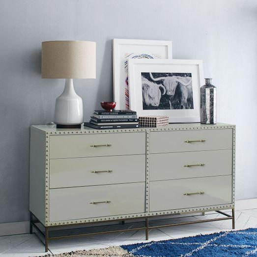 Nailhead Trim 6 Drawer Gray Dresser