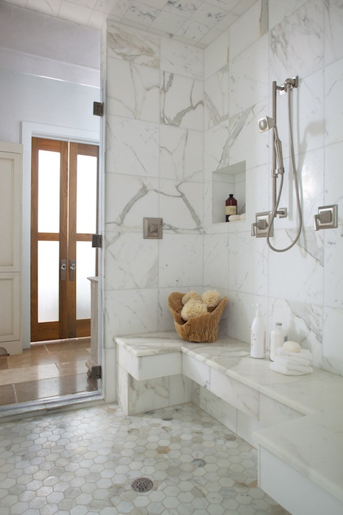 Calcutta gold hex tiles transitional bathroom denman bennett Marble hex tile bathroom floor
