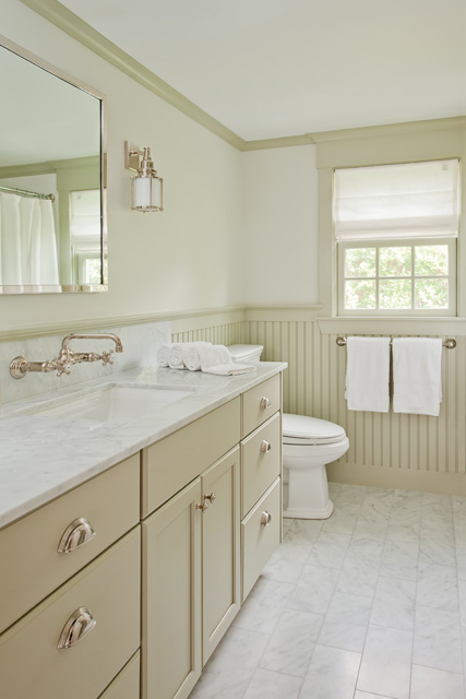 Taupe beadboard transitional bathroom d thomas scott for Taupe bathroom ideas
