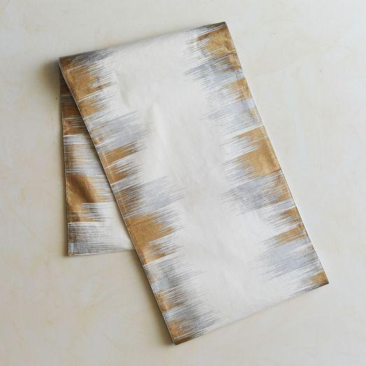 Enchanted Gold And Silver Ikat Table Runner