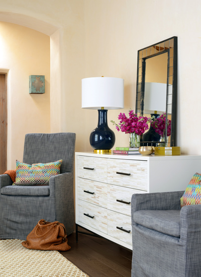 View Full Size Foyer Sitting Area Features West Elm Antiqued Tiled Wall Mirror On Wood 6 Drawer Dresser