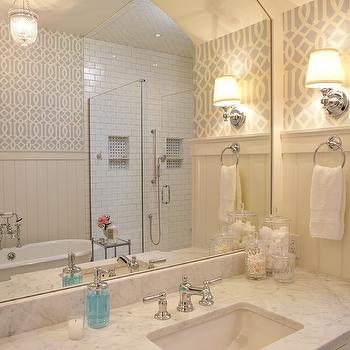 Soft Aqua  Imperial Trellis Wallpaper, Transitional, bathroom, Francesca Owings Interior Design